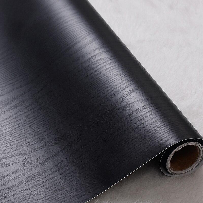 DIY Decorative Film Self Adhesive Wallpaper Wood Black PVC Vinyl Contact Paper For Kitchen Cabinets Living Room Decor Wall Paper