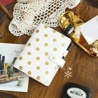 Lovedoki Foil Gold Polka Dot Notebooks & Journals A5 Agenda Planner Organizer Spiral Notebook Filofax Dokibook Daily Stationery