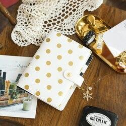Lovedoki hoja de oro lunares cuadernos y revistas A5 Agenda planificador organizador espiral cuaderno Filofax Dokibook diario papelería