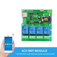 Sonoff Smart Automation Modules USB5V DC7 32V 220V Wifi Relay Module Jogging Self Locking Interlocking Remote