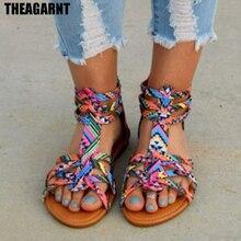 THEAGRANT 2019 Summer Bohemia Women Sandals T-strap Open Toe Flat Gladi