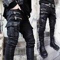 Avant Garde Hardcore de Moda Exclusivo dos homens Revestidos de Cera Do Vintage Magro Calça jeans Motociclista HIPHOP DJ Corredores Casuais Calças Jeans