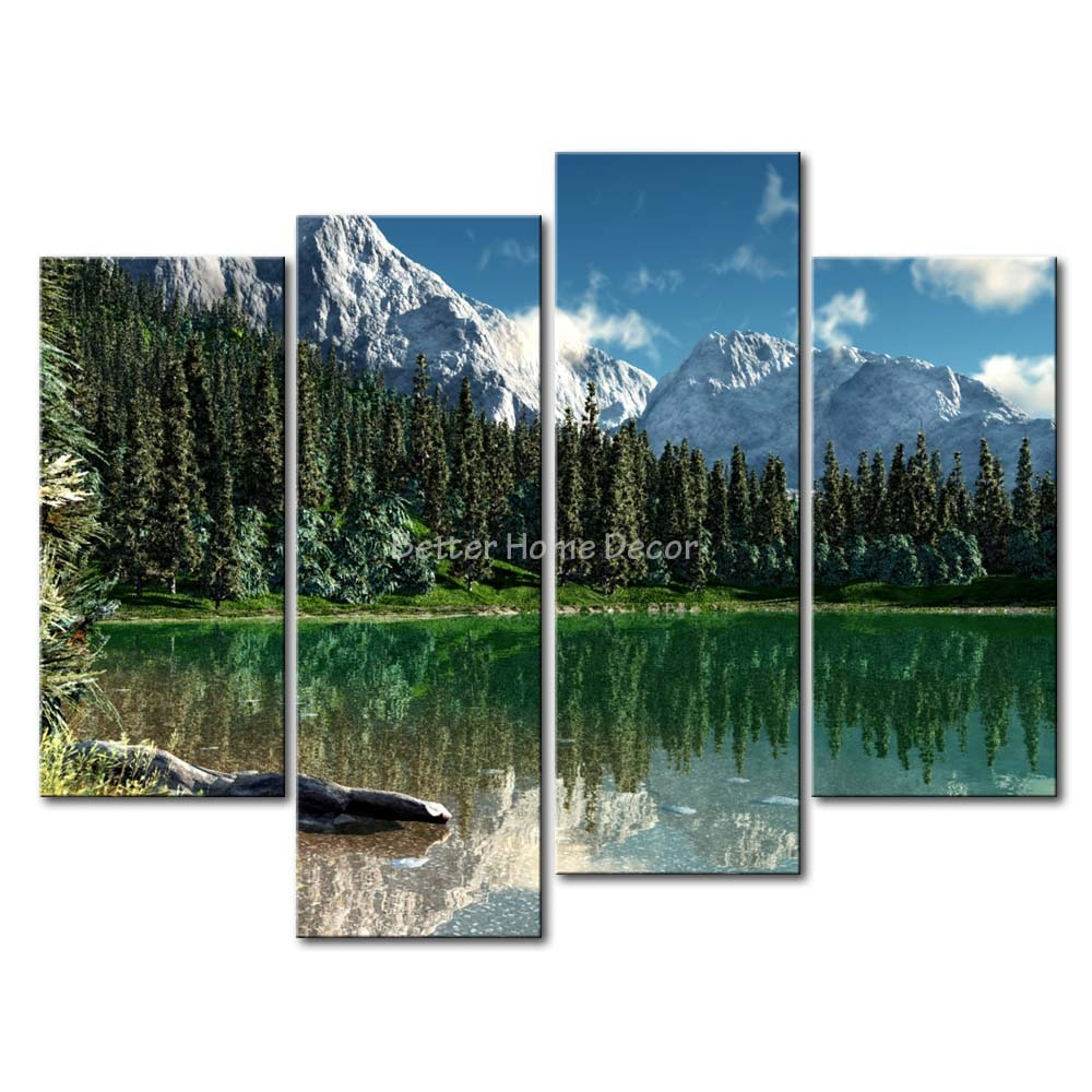 piece wall art painting rocky mountain national park lake snow