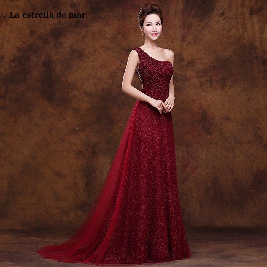 La Estrella De Mar Robe Demoiselle D'honneur 2019 New Sequined Tulle One Shoulder A Line Burgundy Bridesmaid Dresses Long Plus