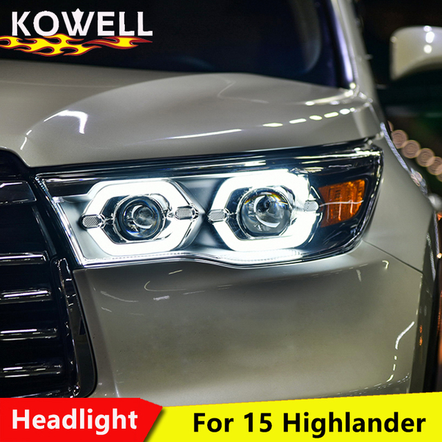 Kowell Car Styling For Toyota Highlander Headlights 2017 2016 New Kluger Led Headlight Drl Lens