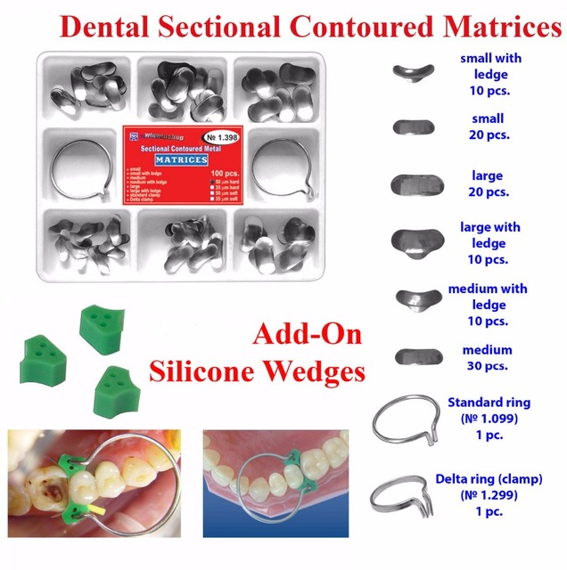 100 Unids Dental Seccional Contorneada Matrices Matriz Anillo Delta + 40 Add-On de Cuña