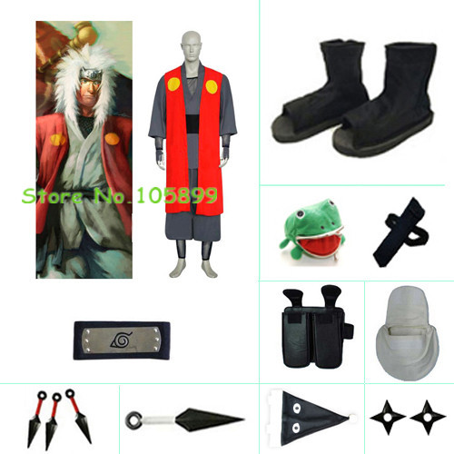 Jiraiya red Halloween font b Cosplay b font Costume 2 from font b Naruto b font