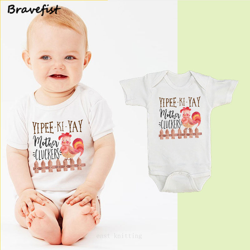 Funny Newborn Jumpsuits Infant Clothes Short Sleeve Tiny Cotton Baby Bodysuits Onesie 0-24M Newborn Cock Print Overalls Outwear