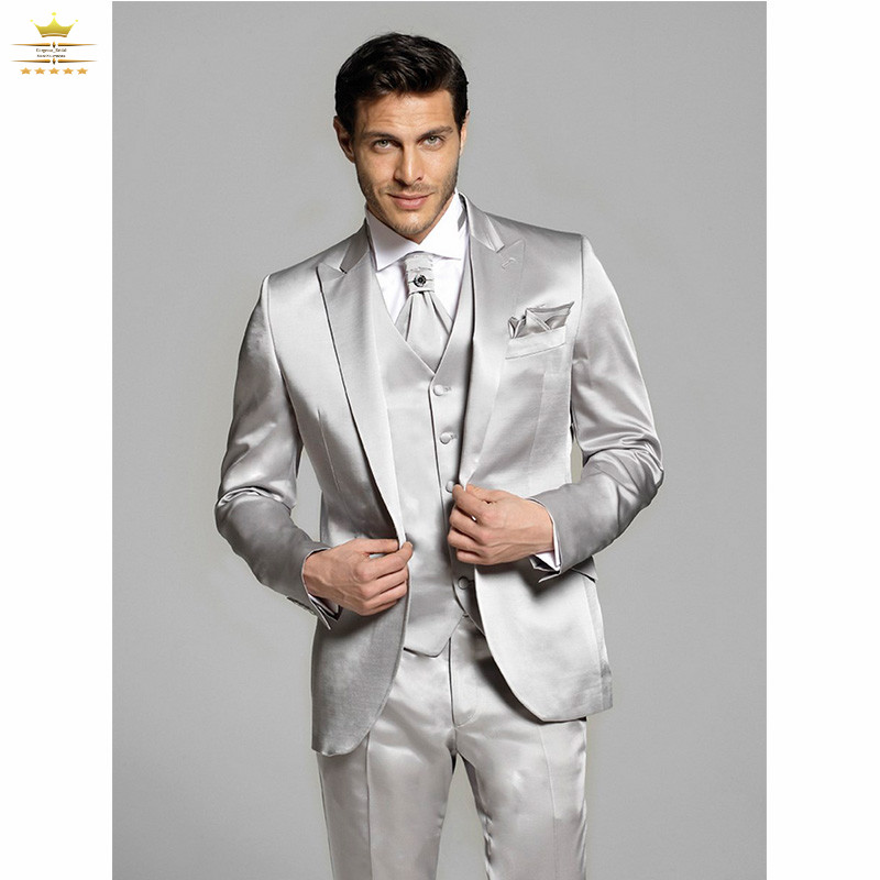 Online Shop Men prom suits silver men 3 pieces silver costume ...