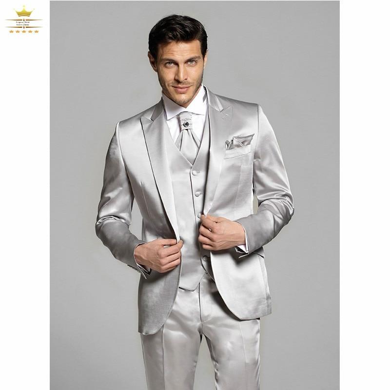 Online Shop Men prom suits silver men 3 pieces silver costume ...