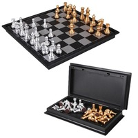 8 Inch Classic Checkers Chess Set Plastic Mini Board Game Foldable Silver Gold Chess Piece Party
