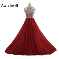 New Arrival Burgundy Evening Gowns Sleeveless Shiny Beadings Chiffon Special Occasion Dress Long Prom Dresses Christmas Dress