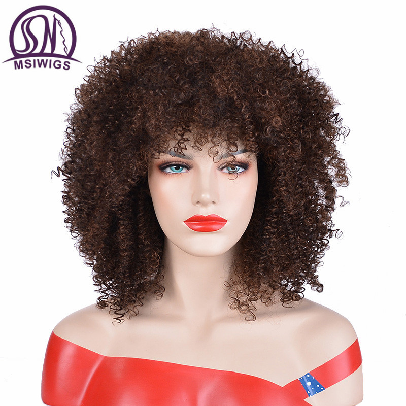 MSIWIGS Brown Synthetic Curly Wigs For Women Red Black Short Wig With Bangs Grey Hair Heat Resistant
