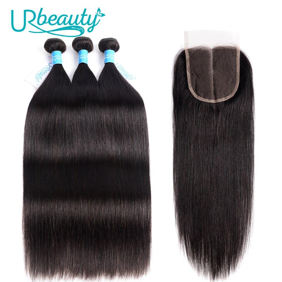 UR Beauty 3 Bundles Straight Hair Bundles With Closure Indian Human Wave 3 Bundles With Closure