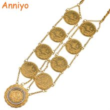Anniyo 86CM Long Coin Necklace for Women Gold Color Turkey Coins Jewelry Turks Items/African Party Gifts #080206(China)