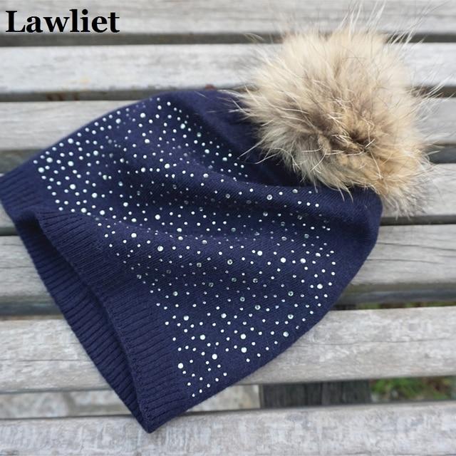 Women's Winter Hat Mink Real Fur beanies Hat Cashmere knitted fur pom pom Female Cap Shining Rhinestone hats for women Spring