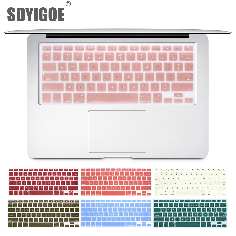 Laptop Keyboard Cover For Macbook Air 13 Pro 15 Inch A1466 A1502 A1278 A1398 US Silicon Keyboard Cover Color Protective Film