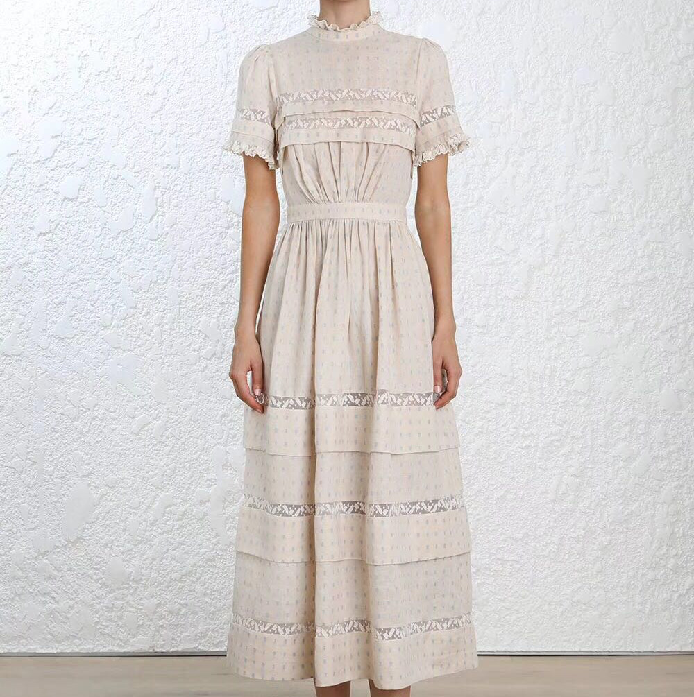 High Neck Ruffled Lace Trim Helm Dot Frill Women Pleated Linen Flared Midi Dress