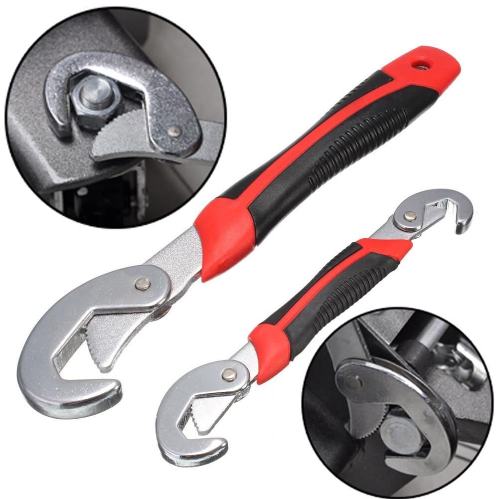 Juego de llaves de 2 unids/set llave multifunción Universal de agarre rápido llave de cabeza ajustable llave inglesa de acero de vanadio cromado