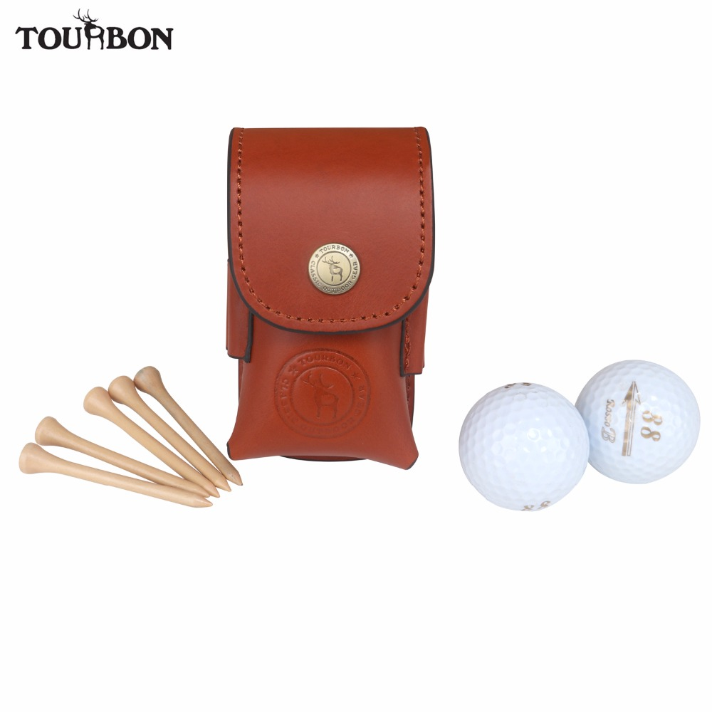 Tourbon Golf Ball Bag Tee Holder Holds 2 Balls Divot Tool Holder Retro Genuine Leather Pouch
