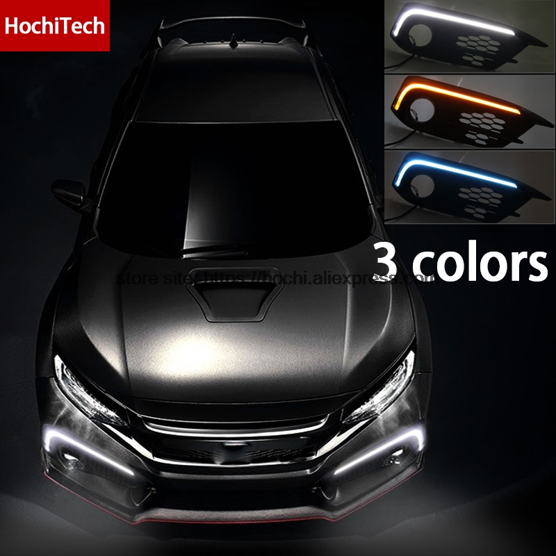 High quality 3 colors white yellow turn signal ice blue LED Car DRL Daytime running lights fog light For Honda Civic 2016 2017 high quality 3 colors white yellow ice blue led car drl daytime running lights fog light with yellow turn signal for honda jade
