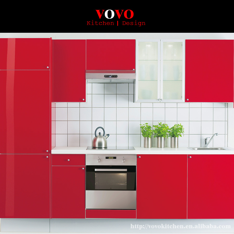 High Gloss Red Lacquer Kitchen Cabinet-in Kitchen Cabinets