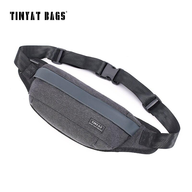 TINYAT Hommes Épaule Taille Sac pack Noir Toile Poitrine Fanny Sac sac à main Ceinture Sac pack pour téléphone d'argent Femmes Voyage Bum Hip Pack