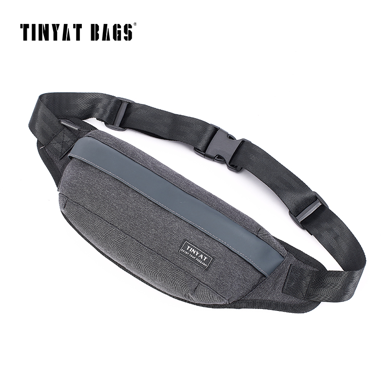 TINYAT Men Shoulder Waist Bag pack Black Canvas Chest Fanny Bag Handbag Belt Bag pack for phone money Women Travel Hip Pack Bum