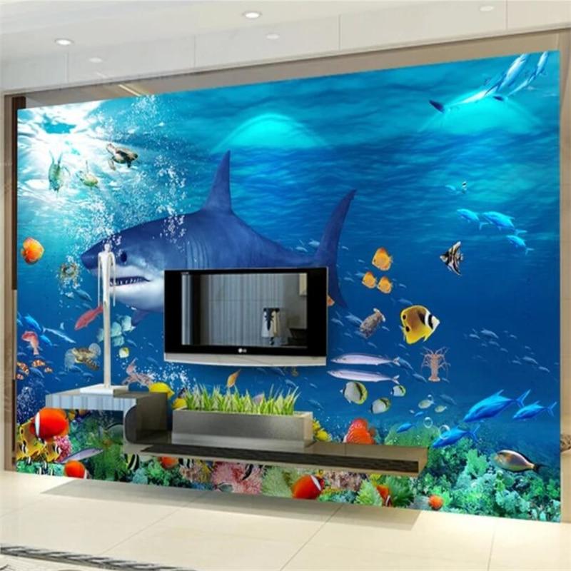 Beibehang Custom wallpaper Underwater aesthetic 3D TV background wall custom large mural green wallpaper papel de parede Mural