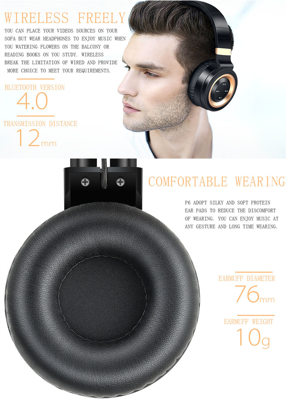 Sound Intone P6 S Bluetooth Headsets Stereo wireless Headphones With MIC Support FM Radio TF Card Earphone For iPhone Xiaomi PC 4