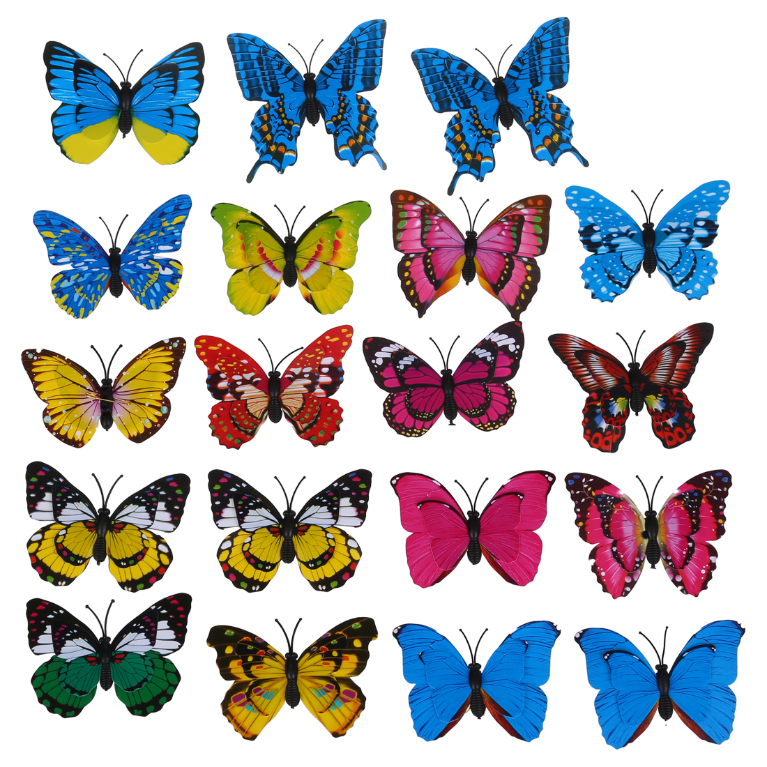 New 20pcs 7cm 3D Artificial Butterfly Pin Clip Double Wing For Home Christmas Wedding Decoration, Colors Randomly Send