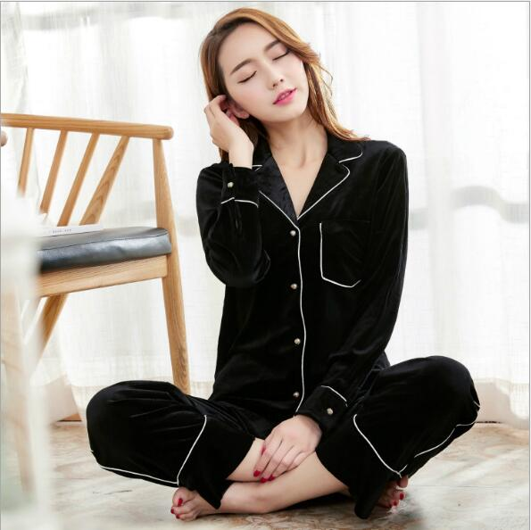 Fdfklak High Quality Gold Velvet Autumn Winter Woman Pijamas Sleepwear Family Matching Pajamas Homewear Pyjamas Femme Q551