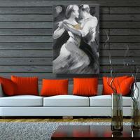 Najwyższej Jakości 100% Ręcznie Malowane Mężczyzna i Kobieta Tango Dancer Nowoczesne Abstrakcyjne Dekoracje Ścienne Sztuki na Płótnie Malarstwo