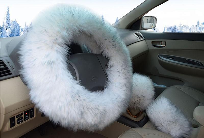 Winter Warm Wool Handbrake Cover Gear Shift Cover Steering Wheel Cover 38cm diameter 1 Set 3 Pcs 10