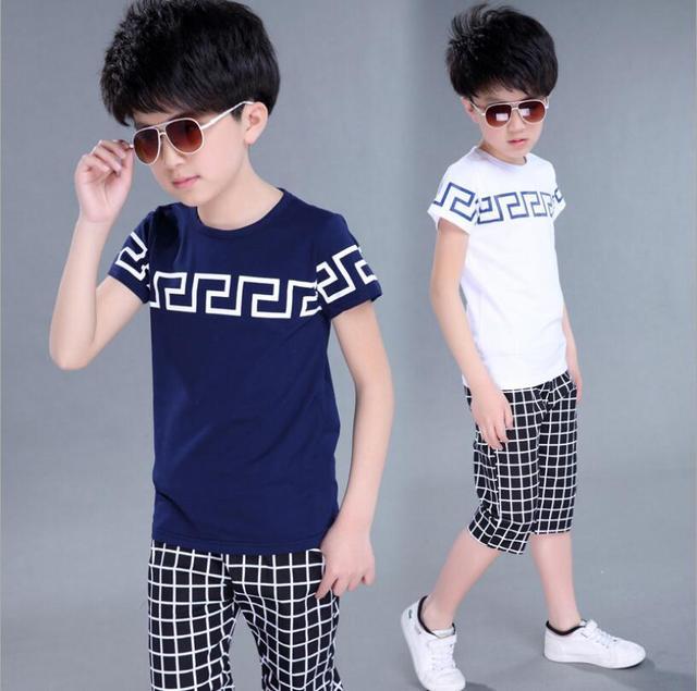 2017 adolescente meninos conjuntos de roupas de verão meninos grandes roupas set crianças crianças meninos roupas set outfits t camisas calções calções