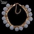Dvacaman marca 2017 choker za nuevo diseño de la felpa para las mujeres de la vendimia de oro chapado maxi partido collar llamativo joyería de san valentín m60
