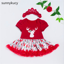 Get more info on the sunnykucy Christmas New 0-2 Years Old Female Baby High Quality Cotton Short Sleeve Christmas Deer Print Dress	L212