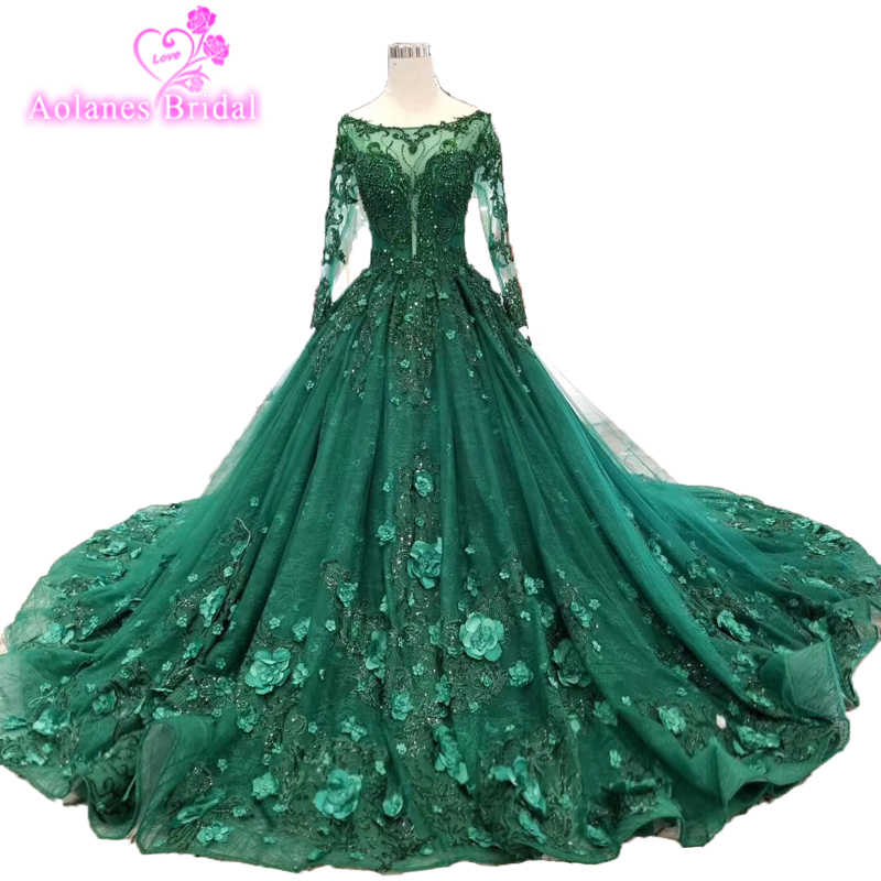 78d4feee71e5b 2019 New Design Crystals Green Long Prom Dress Long Sleeves O Neck ...
