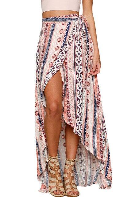 Mujeres Falda larga verano impreso 2017 impresión étnica Maxi Faldas  envuelto playa faldas largas playa Faldas 1606c9eaaa3c