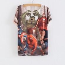 Europe summer new Hulk Spiderman printing Women's short-sleeved T-shirt female tops character tees free size