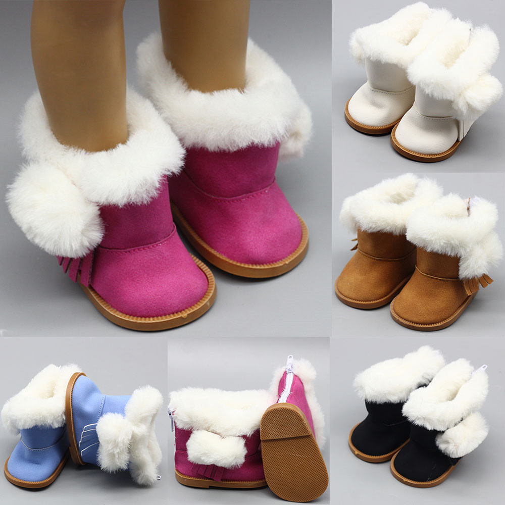 """43cm Height Girls Dolls Snow Boots Shoes For 18"""" Doll Born Baby Doll Winter Chirstmas Shoes Doll Accessories"""