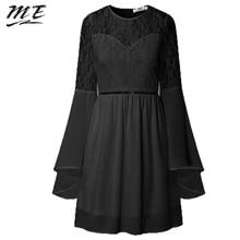 Фотография ME Lace Party Dress Women Black Trumpet Sleeve Plus Size White Autumn Long Sleeve Mini Dress Elegant Party A-line Women Dresses