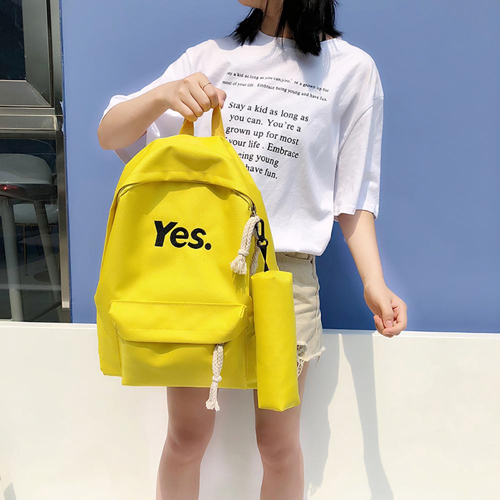 Fashion Letters Student Girls Travel Casual Nylon Backpack with Pencil Bag