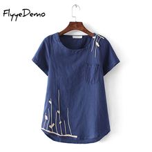 L – 4XL 4 Colors 2017 New Casual Girl Shirt Plus Size Women Summer Embroidery Short Sleeve Linen Shirts Loose Tops Women Blouses