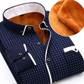 2015 New Arrival Mens Long Sleeve Thicken Winter Shirts Double Collars Design Social Floral Print Dress Shirts, Polka dot shirts