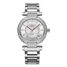 Yelang V1026 Lady Austria Crystal T100 Luminous Women Steel Band 100M Waterproof Automatic Meachanical Wrist Watch – Silver