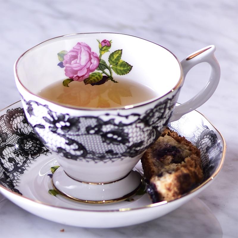 שחור ספרדית תחרה גבוהה כיתה עצם סין תה כוסות תה פרחוני זהב פרחים ורדים אחר הצהריים תה קפה קינוח דיש מתנה