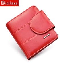 DICIHAYA Red Billfold Coin Pocket Genuine Leather Women Short Wallets High Quality Girl Small Purse Female Carteras Carteira