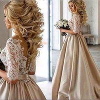 New arrival luxury wedding party lace Dresse Formal pattern vestido de noiva plus Party Gown prom robe de soiree half sleeves