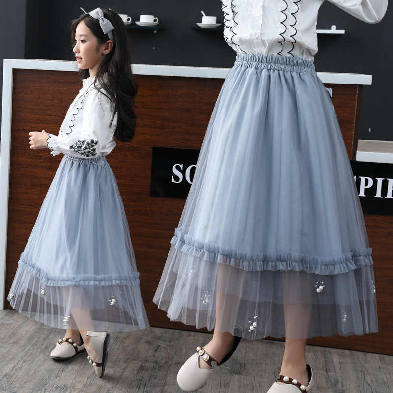 a2a92d91389cff Girls Tutu Skirt Summer Soft Tulle Pettiskirt Autumn Long Girls Skirts For  2-16Y Kids